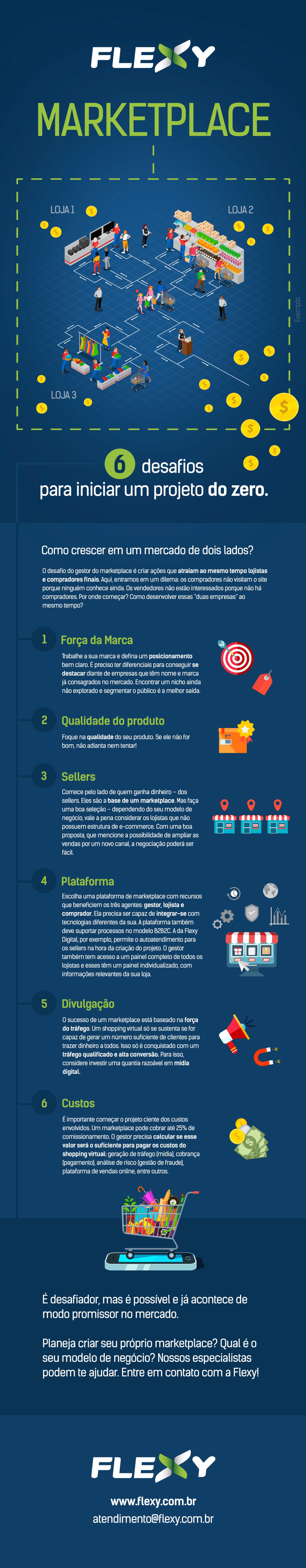 Infográfico dificuldades em criar um marketplace.